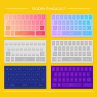 Modèle de conceptions de clavier mobile. Ensemble de vecteurs