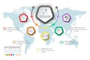 Infographie des étiquettes commerciales sur fond de carte mondial. vecteur