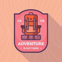 Modèle de logo de vecteur de sac à dos transporteur aventure badge