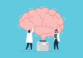 Docteur fixant le cerveau