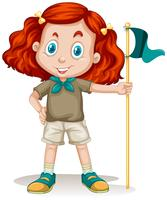 Petite fille en tenue de camping vecteur