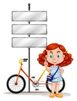 Fille, debout, à côté de, vélo, et, signes vecteur