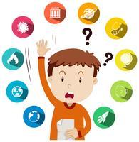 Garçon posant des questions sur le travail scolaire vecteur