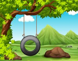 Scène nature avec balançoire dans le parc