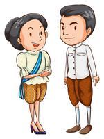 Un couple avec leurs costumes vecteur