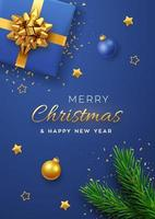 bannière de Noël. coffret cadeau bleu réaliste avec noeud doré, branches de pin, étoiles dorées et confettis scintillants, boule de boules. fond de Noël, couverture, affiche, cartes de voeux, site Web d'en-têtes. vecteur. vecteur