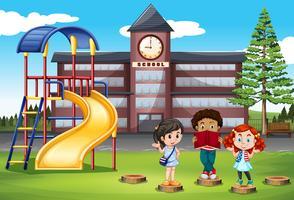 Enfants debout devant l'école vecteur