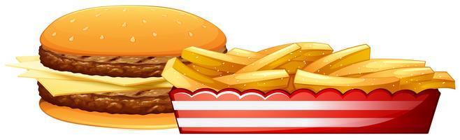 Burger et frites vecteur