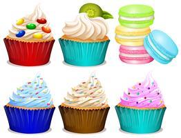 Différentes saveurs de cupcakes vecteur