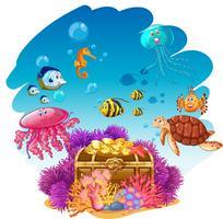 Coffre au trésor et animaux marins sous l'eau