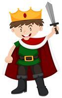 Garçon en costume de prince tenant l'épée vecteur