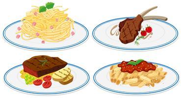 Nourriture différente sur le plat vecteur