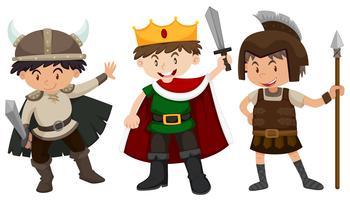 Garçons en tenue de soldat et de prince vecteur