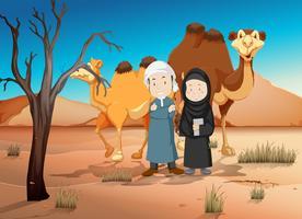 Deux Arabes et des chameaux dans le désert vecteur