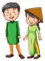 Deux asiatiques vecteur