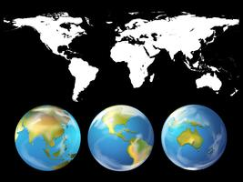 Thème géographique avec atlas mondial vecteur