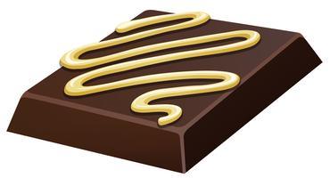 Tablette de chocolat avec du chocolat blanc sur le dessus