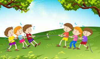 Garçons et filles jouant au tir à la corde vecteur