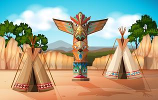 Scène avec tipi et totem vecteur