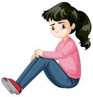 Fille adolescente triste assis vecteur