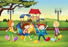 Enfants jouant au ballon sautant dans le parc vecteur