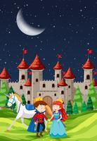 Prince et Princesse avec un château vecteur