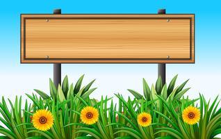 Un panneau en bois vide au jardin vecteur
