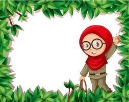 Une éclaireuse musulmane sur cadre nature vecteur