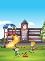 Deux garçons jouant à la balançoire à l'école vecteur