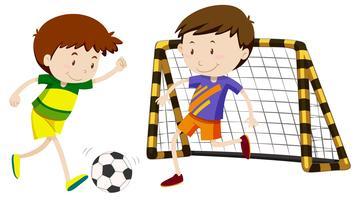 Deux garçons jouant au football vecteur