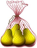 Poires fraîches dans un sac vecteur