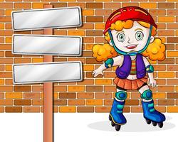 Une fille fait du roller à côté des panneaux de signalisation vides