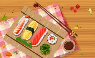 Vue aérienne de sushi