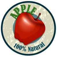 Étiquette alimentaire pomme sur blanc vecteur