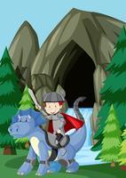 Un prince chevauchant un dragon dans la nature