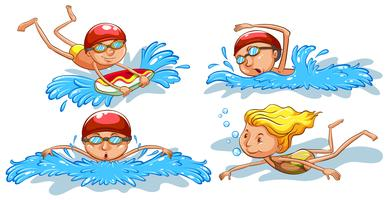 Croquis colorés de gens nageant