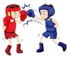 Boxers en tenues bleues et rouges