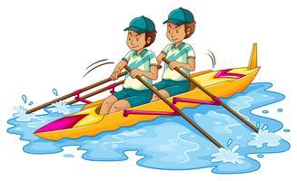 Deux hommes, ramer, kayak
