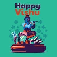 Illustration d'un fond pour le festival indien traditionnel Happy Vishu célébré au Kerala en Inde