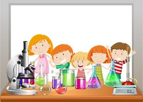 Design de frontière avec enfants et laboratoire