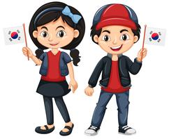 Enfants tenant le drapeau de la Corée du Sud vecteur