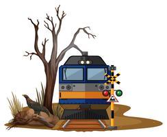 Trajet en train dans le désert aride