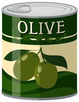 Olives en canette d'aluminium vecteur