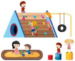 Enfants et aire de jeux extérieure vecteur