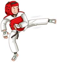 Homme en tenue de taekwondo coups de pied
