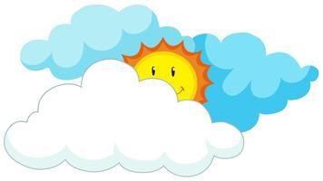Soleil heureux derrière les nuages vecteur