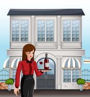 Un serveur féminin devant un bâtiment vecteur