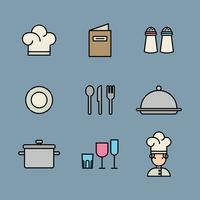 Icônes décrites sur un restaurant vecteur