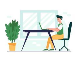 conception de l'homme qui travaille. homme assis au bureau et travaillant sur l'ordinateur portable. illustration vectorielle plane vecteur