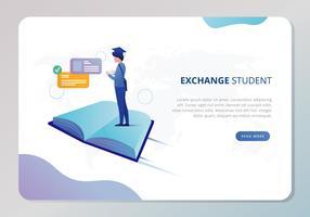Illustration d'étudiant d'échange vecteur